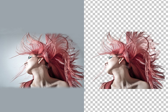 image hair masking of a girl technique which is shown before and after